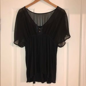 Converse Sheer Black Blouse with Attached Tank - L
